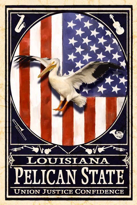 USA Flag & Louisiana Flag - Live Art Gifts