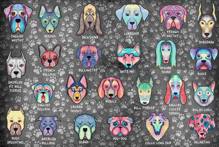 Types of Dogs Art (Dark Background) - Live Art Gifts