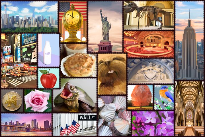 New York New York with Symbols - Live Art Gifts