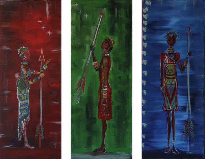3 African Warriors - Lola Bouli Artwork