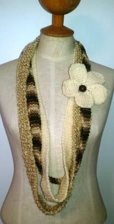 Brown and Cream Infinity scarf - Ona By Design