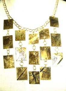 Gilded Leaf Tile Necklace