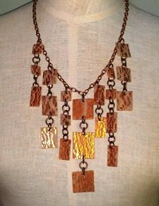 Copper Leaf Tile Necklace
