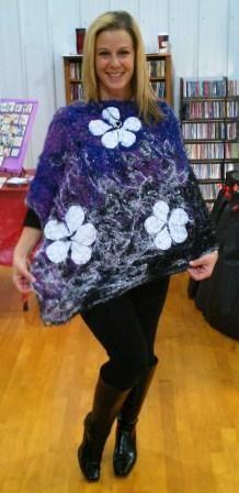 Purple, White, White Flower Poncho - Ona By Design