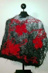 Gray, Black, Red Flower Poncho