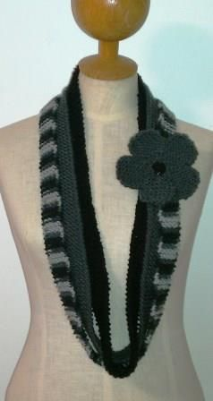 Gray and Black Infinity Scarf - Ona By Design