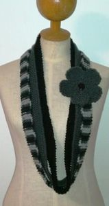 Gray and Black Infinity Scarf