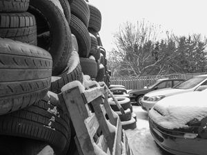 Wall of old tires