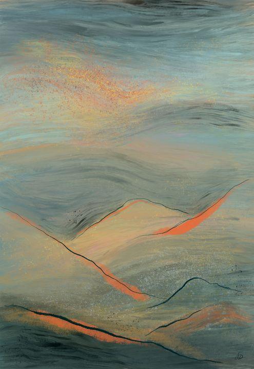 Teal Sunset Atop Mountains - Shreyasi Das