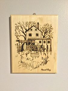 Water mill wall art