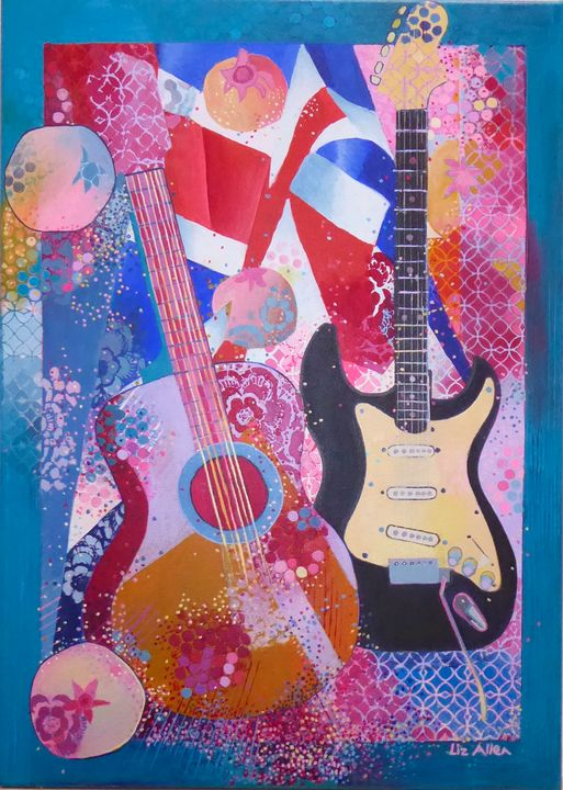 Guitars with flag and pomegranates - Paintings by Liz Allen