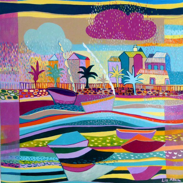 Summer rain at the marina - Paintings by Liz Allen