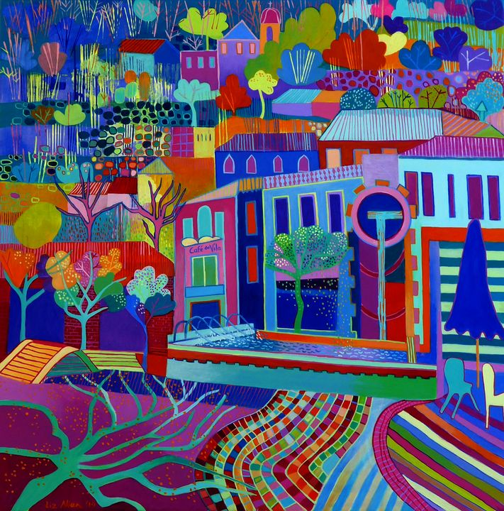 Monchique square with tree shadows - Paintings by Liz Allen