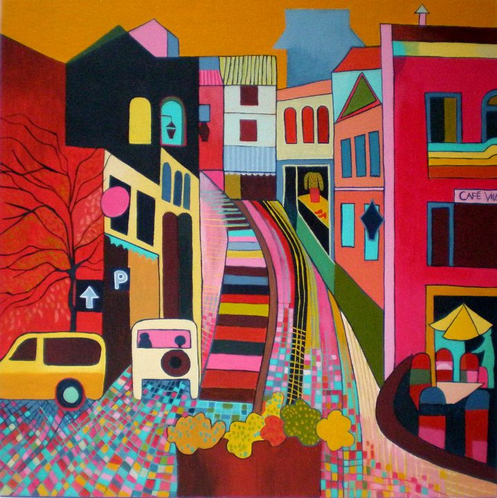 View up the Donkey Steps, Monchique - Paintings by Liz Allen