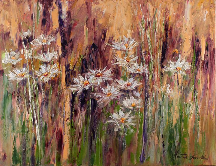 Summer meadow with cammomiles - Margaret Raven Gallery