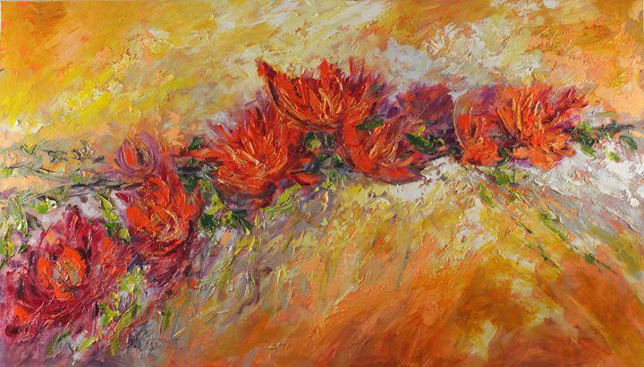 Red flowers bouquet - Margaret Raven Gallery