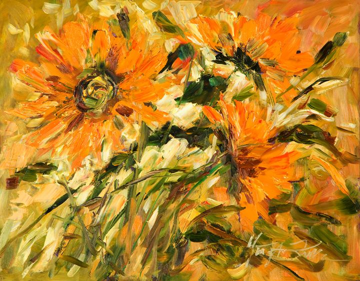 Orange Flowers II - Margaret Raven Gallery