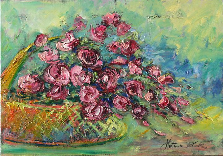 Basket with roses - Margaret Raven Gallery