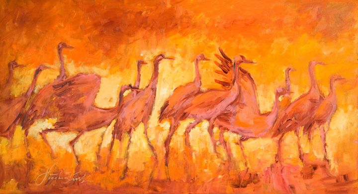 Pink cranes - Margaret Raven Gallery