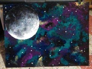 space painting with moon