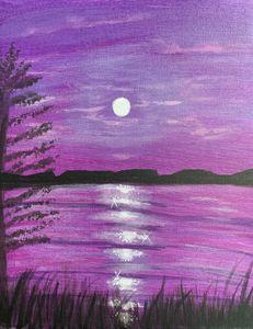 Purple Rising Moon