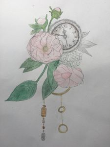 Vintage clock with flowers and leave