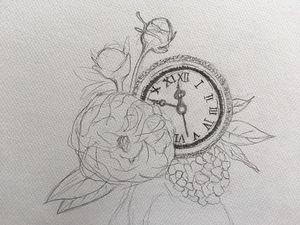 vintage clock sketch