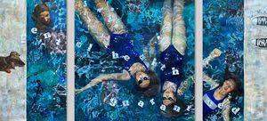 Triptych Two figures in a pool