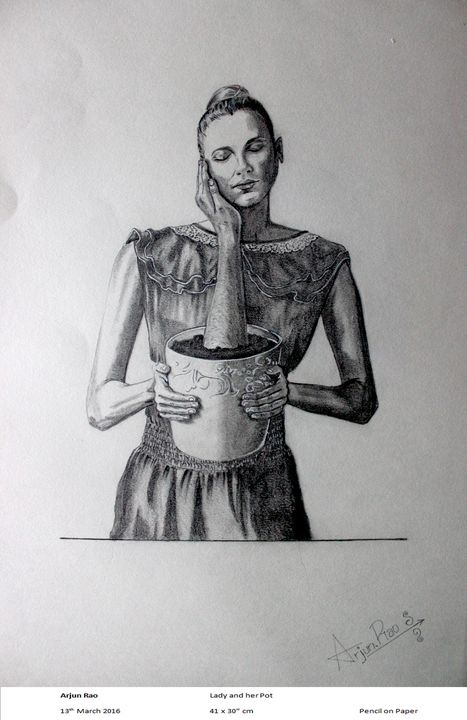 Lady & her Pot - Arjun's Art