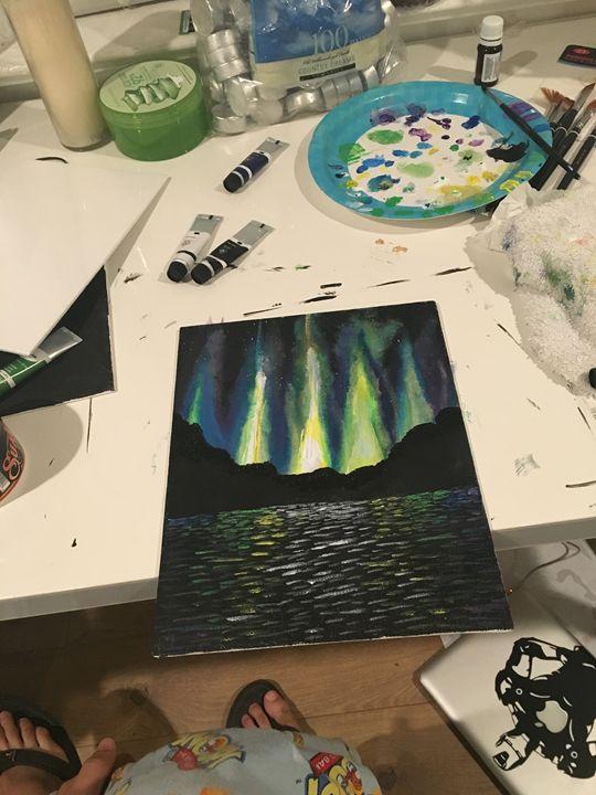 Black Lake-Northern Lights - Dev's Stress releasing paintings
