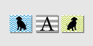Three Chevron Striped puppy prints