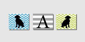 Three Chevron Striped puppy prints