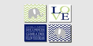 Four 10x8 Chevron Elephant Prints