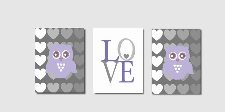 Three Lilac Gray Owl Prints - Steffany Segar Designs