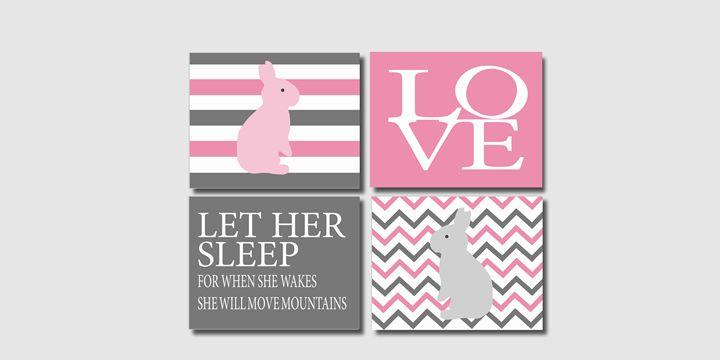 Four pink grey striped bunny prints - Steffany Segar Designs