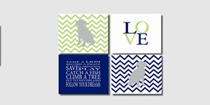 Four Blue Green Chevron Dog Prints