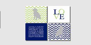 Four Blue Green Chevron Dog Prints