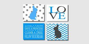 Turqoise and gray bunny prints