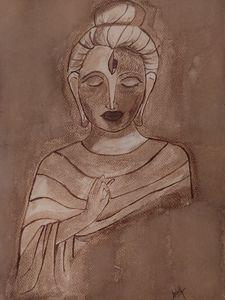 Coffee painting of Lord Buddha,