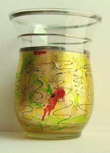 Vase glass gold leaf
