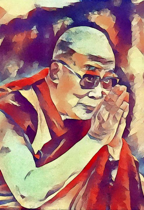 Dalai Lama Offers Prayer - Stacey Art Prints