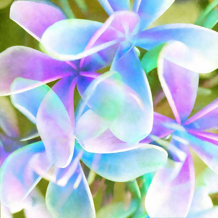 Blue Abstract Floral - Stacey Art Prints