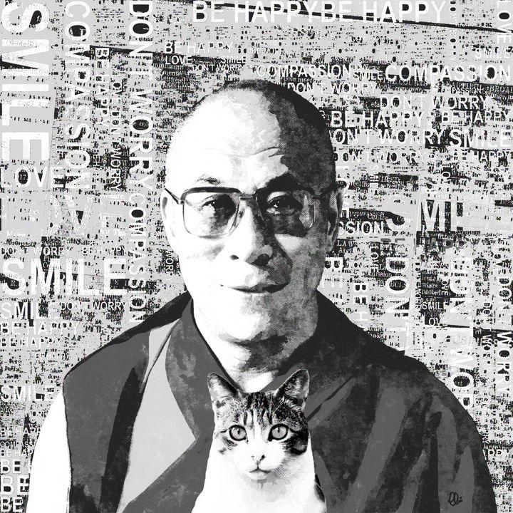 Dalai Lama & Cat - Stacey Art Prints