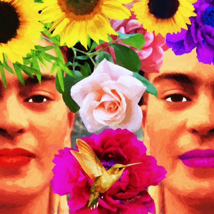 Frida Kahlo & Flowers - Stacey Art Prints