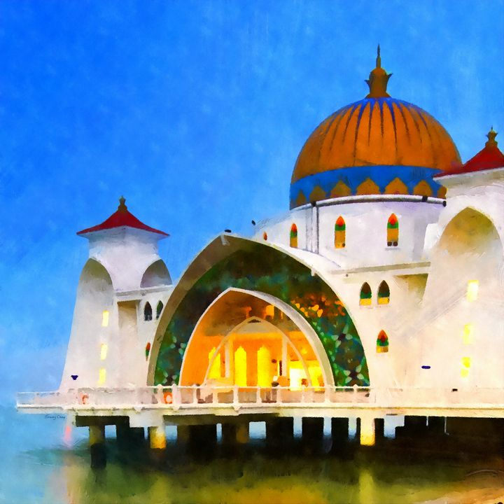 Melaka Straits Mosque - Stacey C Art