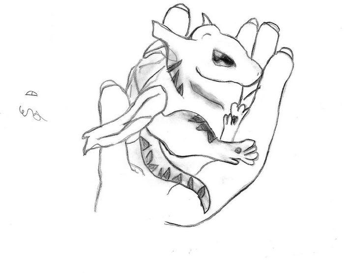 Holding Baby Dragon - Cera's Art