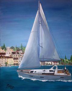 Boat sailing in Croatia - seasore