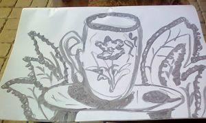 Cup with plants