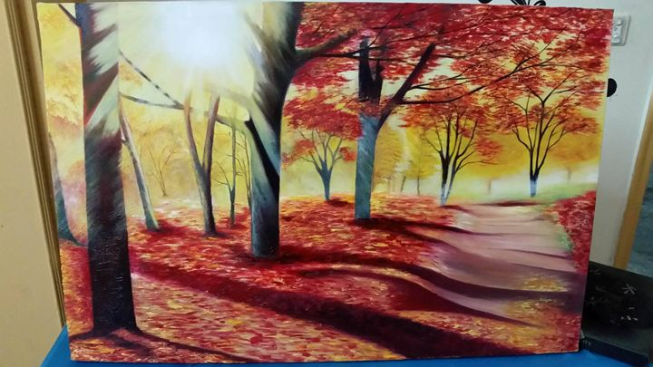 A Bright sun In Red Forest - My Art