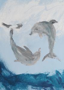 Yin yang dolphins at play